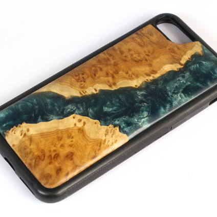 Wood and Resin River Phonecase made with GlassCast 10 Epoxy Resin and Shimr Pigments